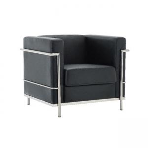 черно кресло ,кожа,хром,метал,Genova 1 black