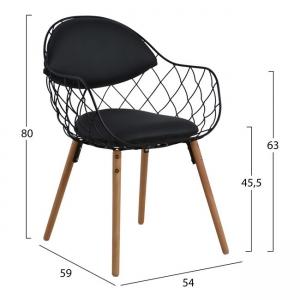 Melia,черен стол,дърво,метал