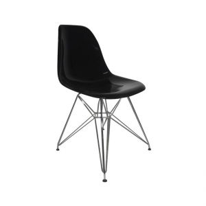 черен стол,полипропилен,метал,хром