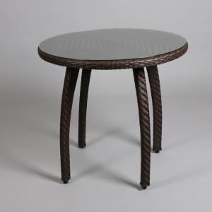 кафява алуминиева маса със стъкло