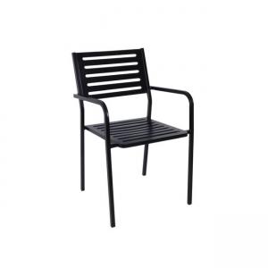черен метален градински стол vera