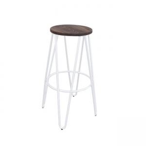 бял ,метален,градински бар стол E 5207