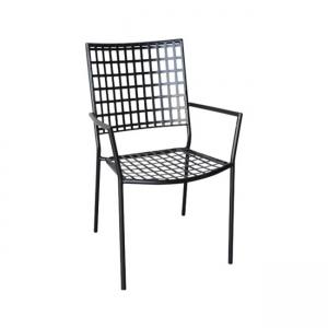 черен градински метален стол castello