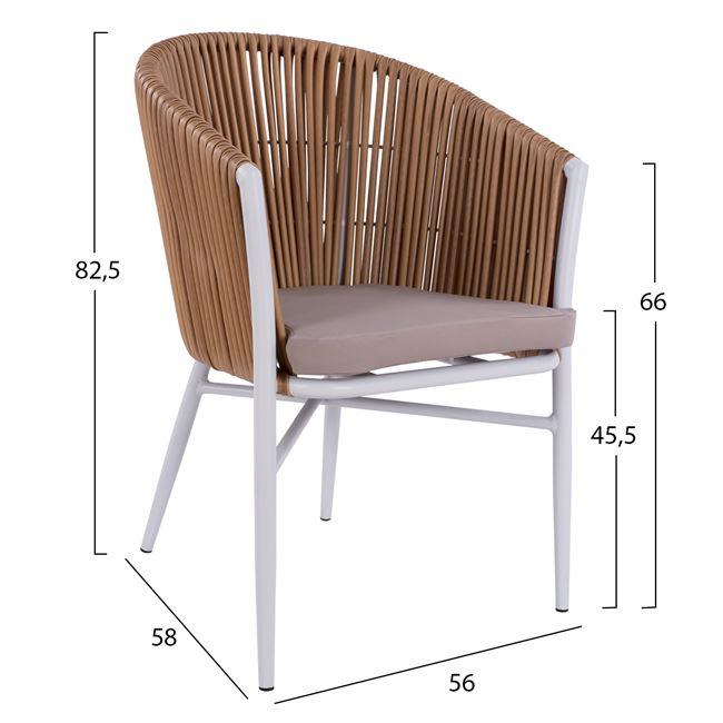 Стол бял с оплетка от изкуствен ратан модел ХМ 5297