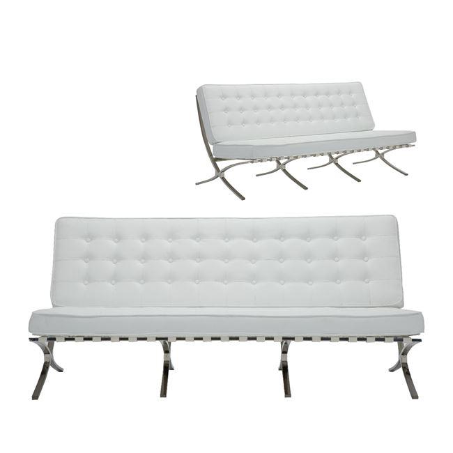 бяло канапе с метална рамка хром
