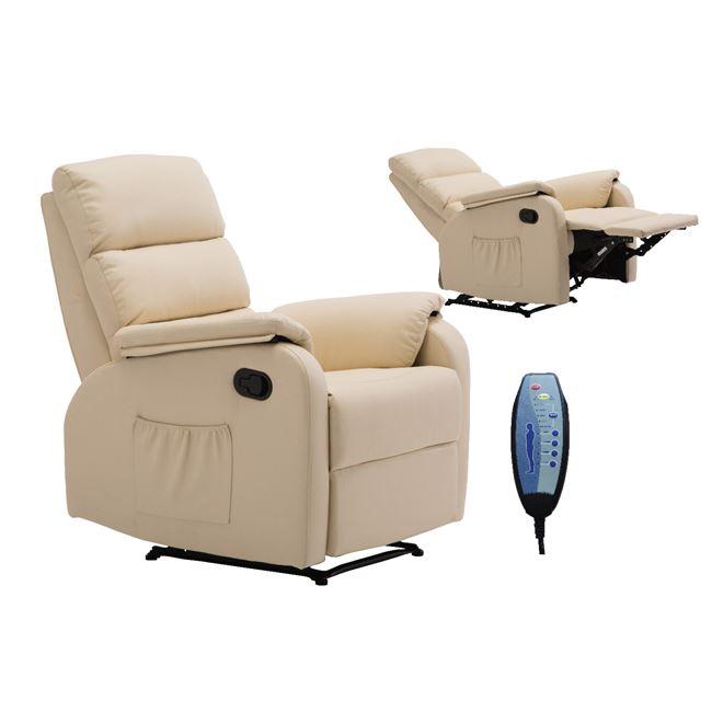 бежово масажно ,кожено кресло COMFORT