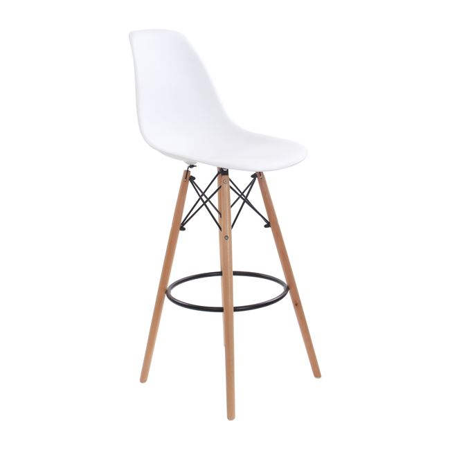 бял бар стол ,дърво ,метал Арт E 509,1