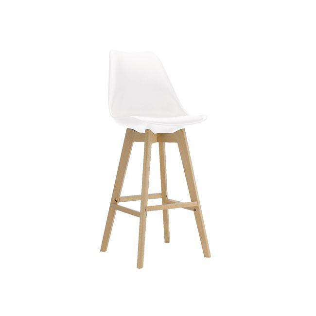 бял бар стол с пластмасова седалка и дървени крака EM147,1