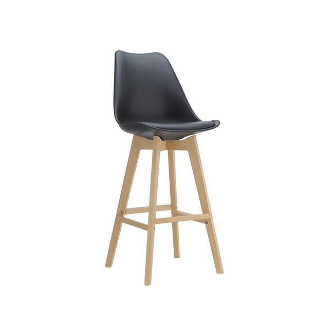 черен бар стол с пластмасова седалка и дървени крака EM147,1