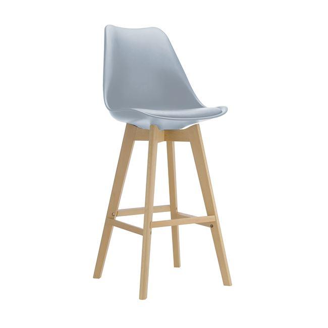 сив бар стол с пластмасова седалка и дървени крака EM147,1