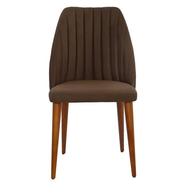 кафяв стол Фелисия,дърво ,дамаска