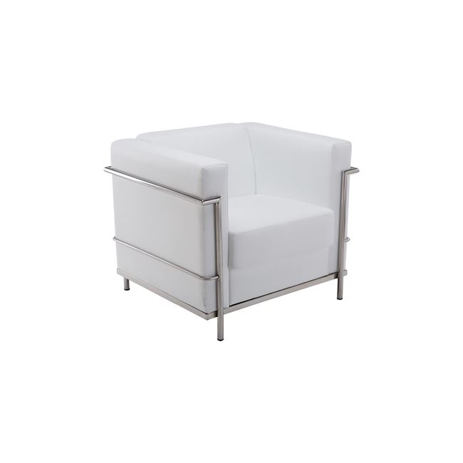 бяло кресло,кожа,метал Genova 1