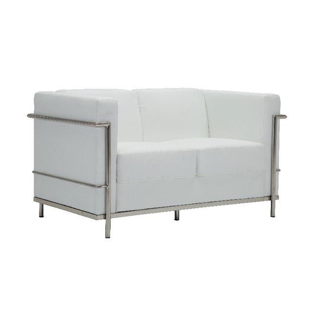 бяло канапе ,метално,кожа Genova 2