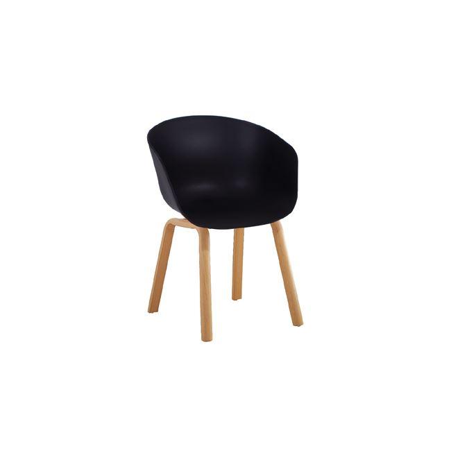 черен стол с метални крака OPTIM-BLACK