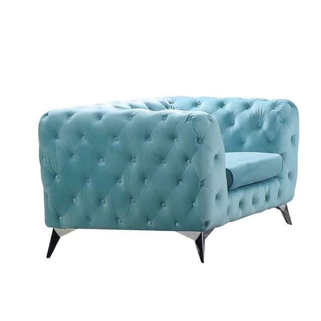 синьо кресло дамаска велур barwol 1 blue