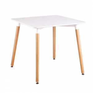 Квадратна маса с дървени крака,бяла,МДФ