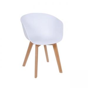Бял стол трапезарен с дървени крака