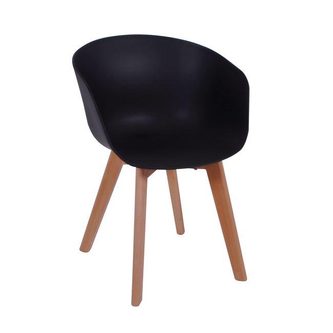 Черен стол трапезарен с дървени крака