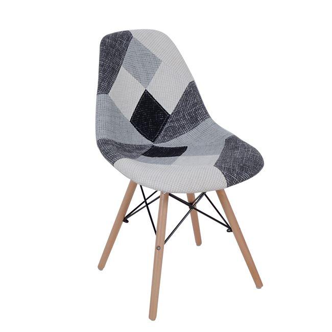 Сив трапезарен стол с дървени крака