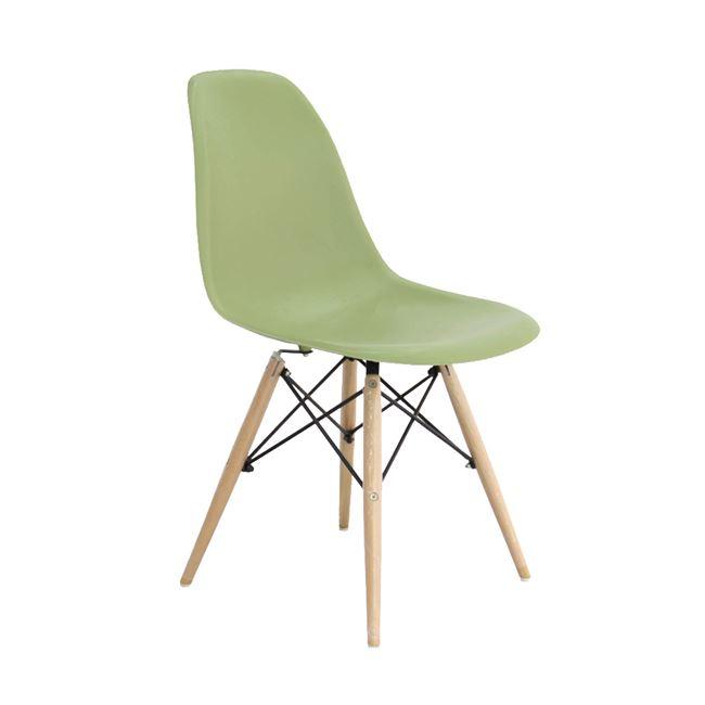 зелен стол,полипропилен,дърво,метал