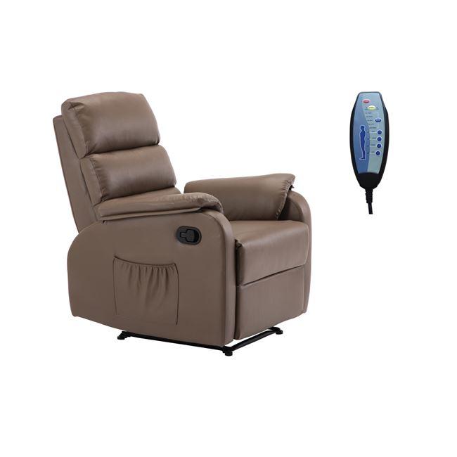 Цвят капучино, масажно ,кожено кресло COMFORT