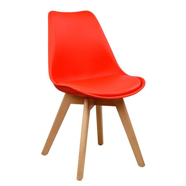 червен стол трапезен,дърво