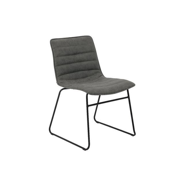 сив метален стол с изкуствена кожа connel 2