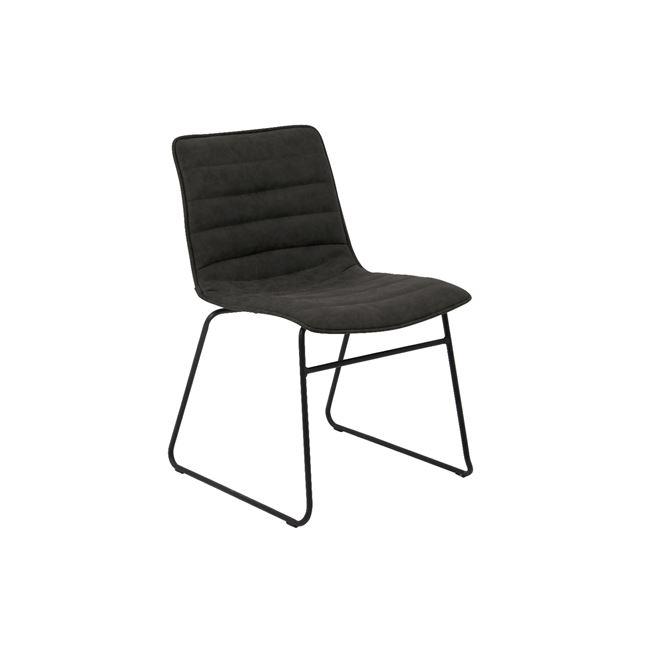 черен метален стол с изкуствена кожа connel