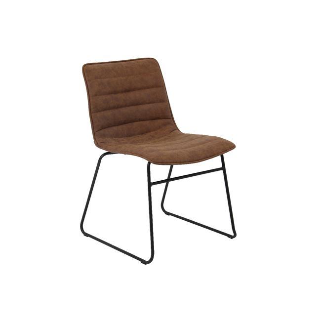 кафяв метален стол с изкуствена кожа connel 2