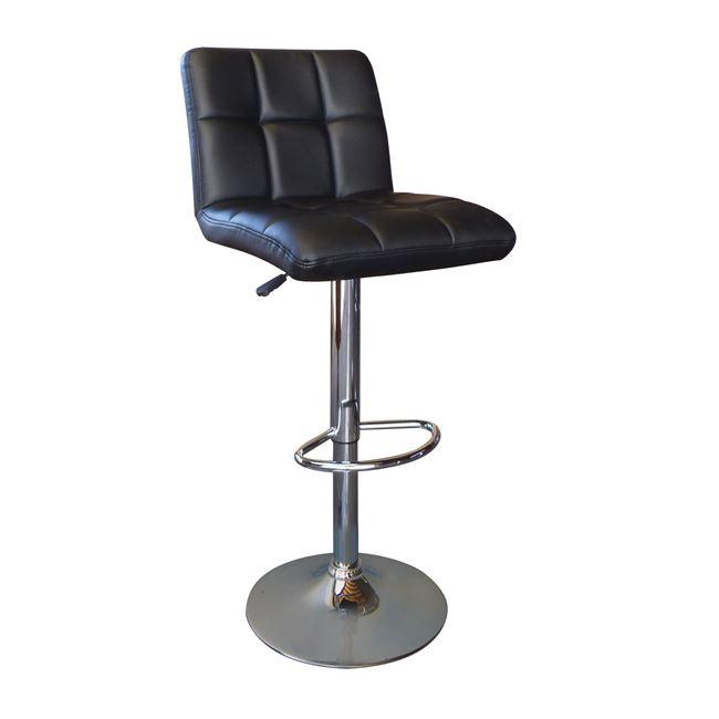 черен бар стол Лино с хромирана конструкция