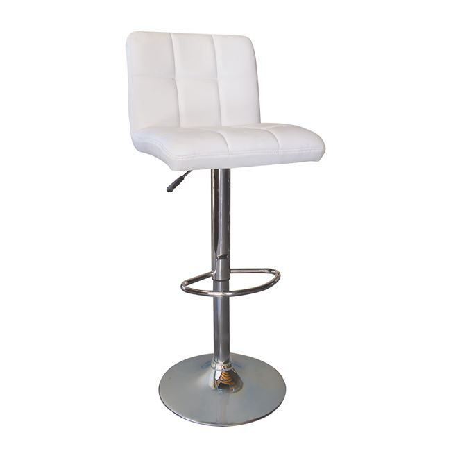 бял бар стол Лино с хромирана конструкция
