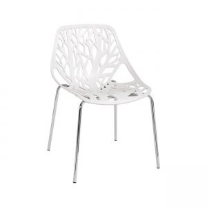 бял стол с метални хромирани крака e-00020348-enlarge