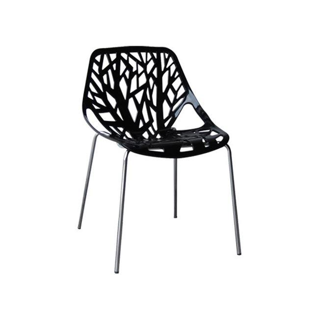 черен стол с метални хромирани крака e-00020349-enlarge