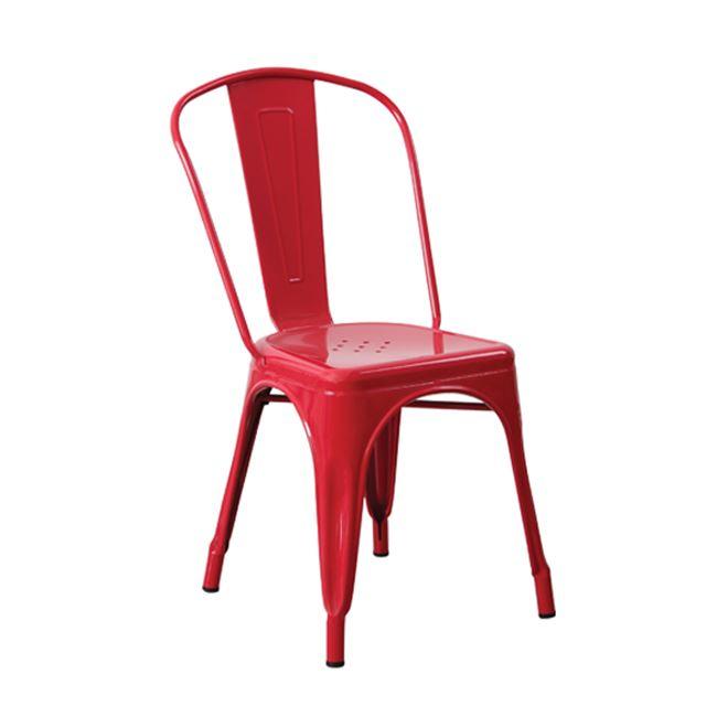 червен градински метален стол 5191,2