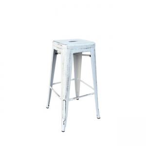 състарено бял метален бар стол E 5190,12