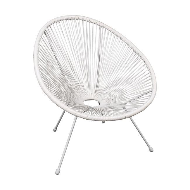 бял,градински стол с оплетка acapulco white