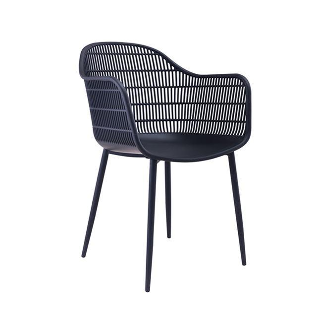 черен градински стол с метални крака EM 155,1M