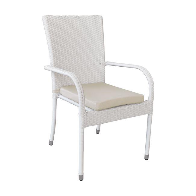 бял стол от изкуствен ратан Lucia