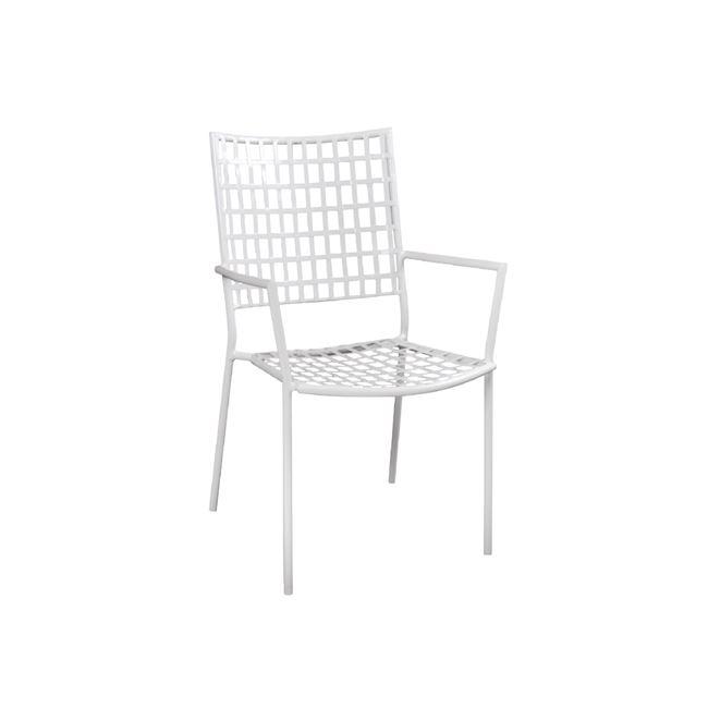 бял метален градински бар стол castello white