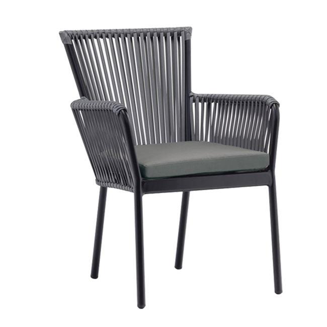 сив градински стол от изкуствен ратан deka grey