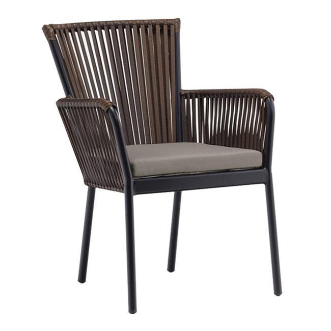 кафяв градински стол от изкуствен ратан deka