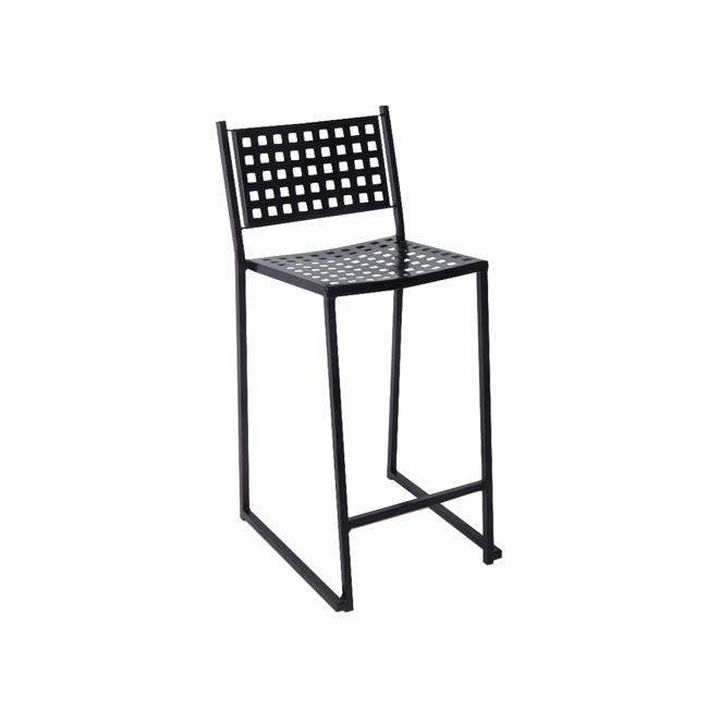 черен метален градински бар стол e-00018009-enlarge