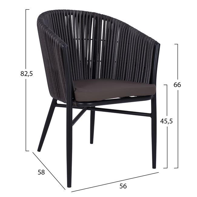 черен стол с алуминиева конструкция и оплетка от изкусвен ратанНМ 5297