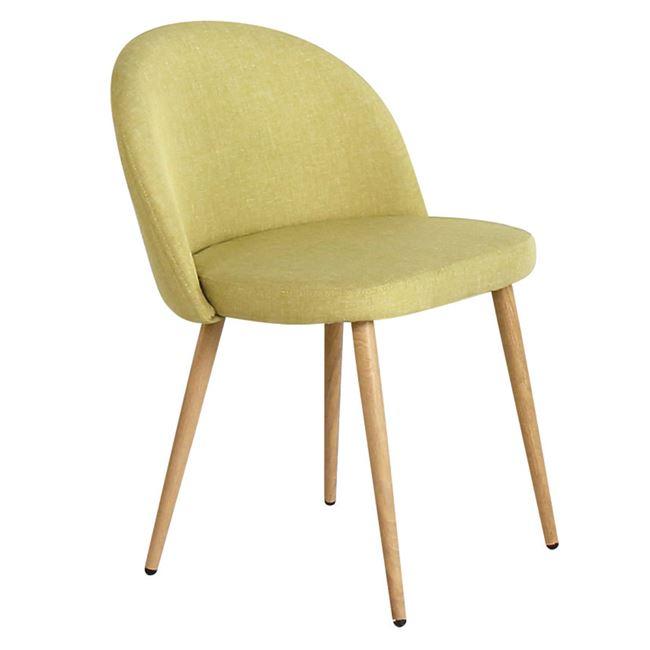 светлозелен стол BELLA с метални крака
