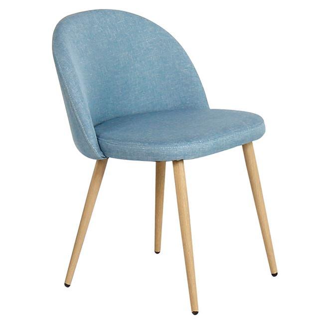 светлосин стол BELLA с метални крака.