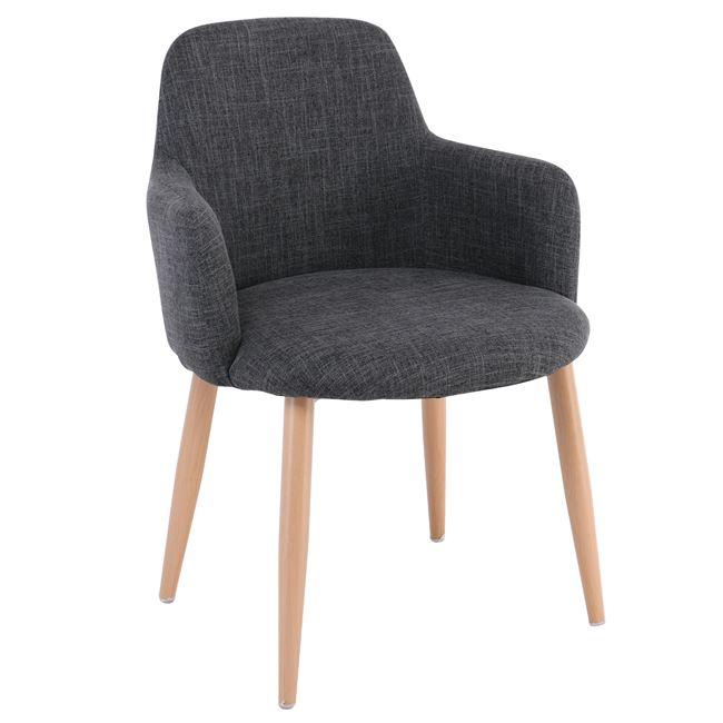 Сив стол SOUL с метални крака,бук