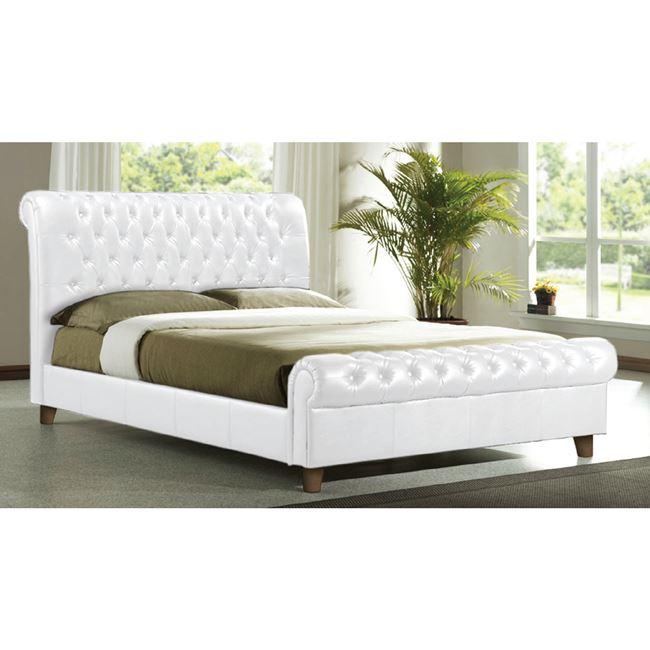 бяло легло,спалня,кожа,дърво Е 8052.1