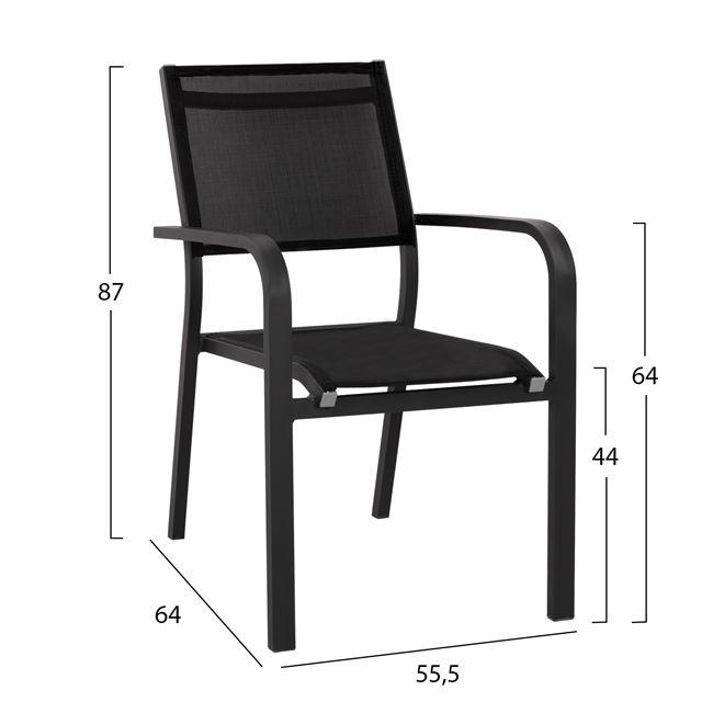 Алуминиев стол ,текстилен,черен,метал,НМ 5083.02