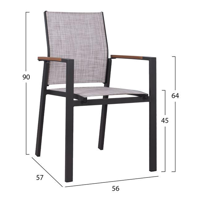 Алуминиев стол,черен,текстилен,НМ 5406.20