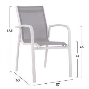 Алуминиев стол,бял,текстиленов,метален,НМ 5281.01